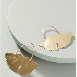Anthropologie Jewelry - Anthropologie Gold Ginkgo Hoop Earrings Brand New!